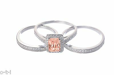 White Gold Plated Sunstone Emerald Cut Engagement Wedding Silver Three Ring Set