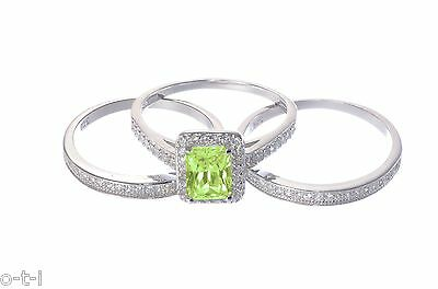 White Gold Plated Peridot Emerald Cut Engagement Wedding Silver Three Ring Set