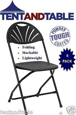 8 Black Stacking Chairs Fan Back Wedding Day Party Holiday Folding Chair