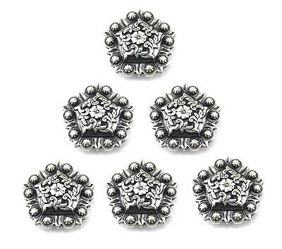 "Concho Lot Of 6 Pcs Antique Silver Berry Pentagon Western Leather Craft 1"" New"