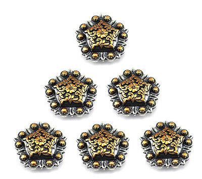 Concho Lot Of 6 Pcs Antique Silver & Gold Berry Pentagon  Leather Craft 1 ""