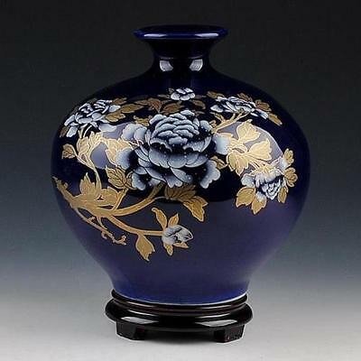 Wonderful Chinese Hand-Painted Gold Peony Sapphire Blue Vase