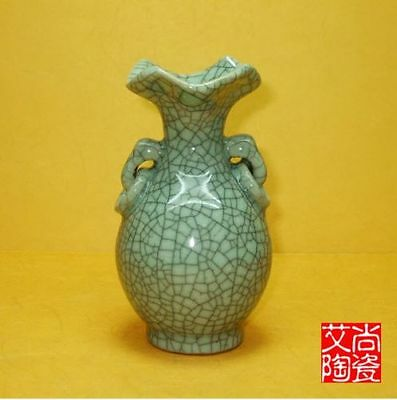 Superb Chinese Archaize Jun Porcelain Handmade Cutting Binaural Vase Q