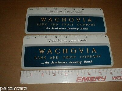 2 Wachovia Bank and Trust now Wells Fargo vintage NM blotter cards Charlotte NC