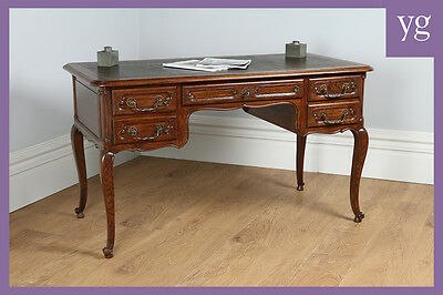 Antique French Louis Oak & Leather Freestanding Office Desk Writing Table c.1890