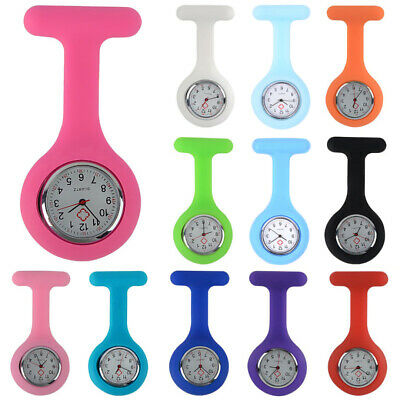 Montre Poche Infirmière Silicone Broche Pince Épingle Rond Quartz Nurse Watch
