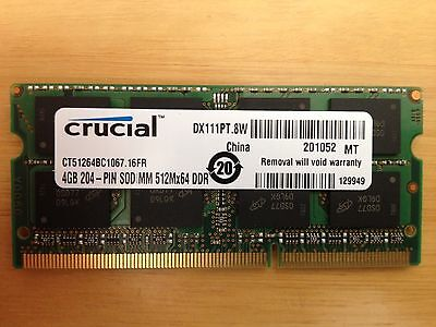 4GB DDR3 Notebook Speicher RAM 1066 Mhz SO-DIMM PC3-8500S 204 pin