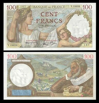 France 100 Francs SULLY 13.3.1941 P 94 UNC