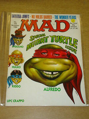 Mad Magazine #332 1989 Nov Vf Thorpe And Porter Uk Magazine Mutant Turtles