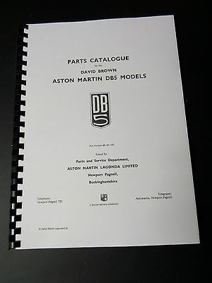 Aston Martin DB5 parts catalogue