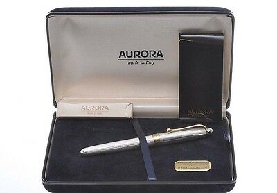 Aurora 88 Sterling 925 Silver 14Kt Gold Medium Nib Fountain Pen New In Box
