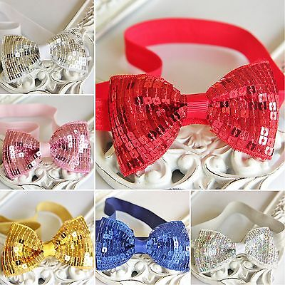 Baby Girl Headband Glitter Sparkle Sequin Bow Elastic Band Christmas Party