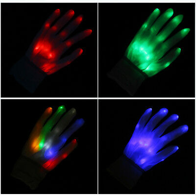 Christmas Rave Party EDC LED Glow Gloves Rave Stage Show Flash Finger Halloween