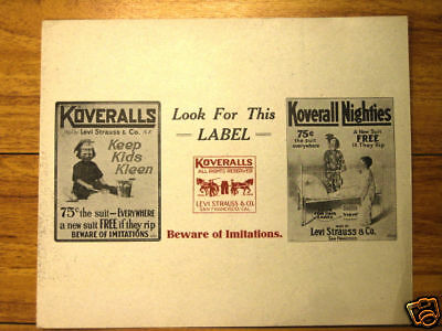 1910 Ad sign Levi Koveralls workwear disp overall NICE