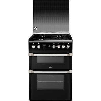 Indesit ID60G2K 60cm Freestanding Double Oven Gas Cooker with 4 Burners in Black