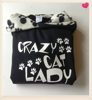 hoodies, sweatshirt  navy/paw print  CRAZY CAT LADY