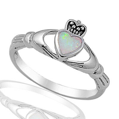 White Fire Opal Irish Heart Claddagh Celtic Sterling Silver Ring Size 3 - 12