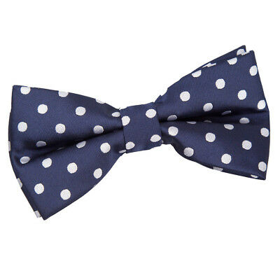 Mens Bow Tie Woven Polka Dot Navy Blue Formal Classic Adjustable Pretied by DQT