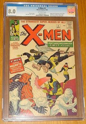 X-Men #1 Cgc 8.0 Vf Marvel Comics September 1963 Off-White Pages (Sa)