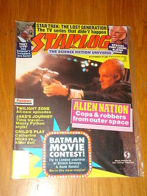 Starlog #136 Sci-Fi Magazine November 1988 Alien Nation Star Trek Batman