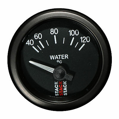 Stack 40-120°C Water Temperature Gauge 52mm Electrical Black Face Illuminated