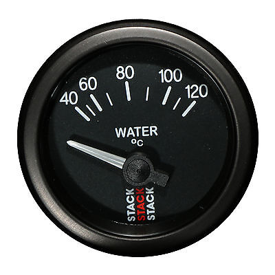 Stack 40-120 °C Water Temperature Gauge 52mm Electrical Black Face Illuminated