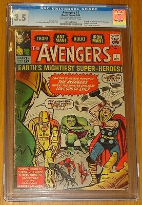 Avengers #1 Cgc 3.5 Vg- Marvel Comics September 1963 Thor Hulk Iron Man (Sa)