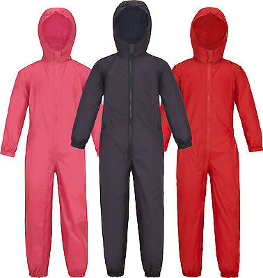 Childs Waterproof Rainsuit Boys Girls All In One Suit Kids Childrens Puddle Suit