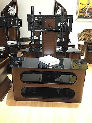 """Beautiful TV Stand in Solid Wood with Side Windows and TV Bracket 32"""" 60"""" Black"""