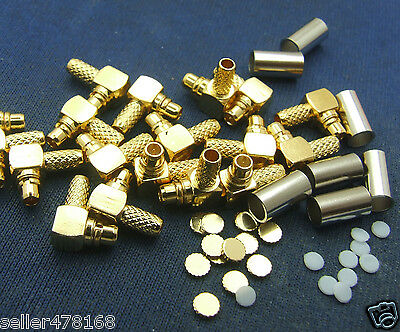 10 set Copper RF MMCX Male Plug Right Angle Crimp Cables For RG178 RG316 Cables