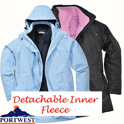 Womens waterproof Jacket 3in1 Coat with warm fleece inside Size Portwest S571