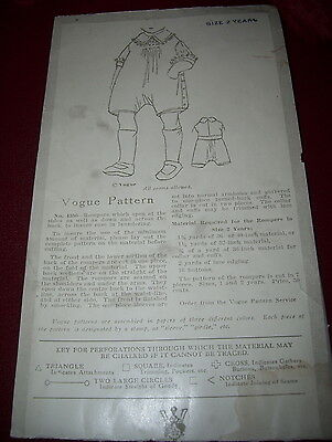 Extremely Rare~1890-1905 Vogue 4356-Childs Victorian Romper Pattern-Never Opened