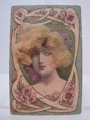 Antique Victorian Woman Postcard ' real hair ' old hand tinited color post card