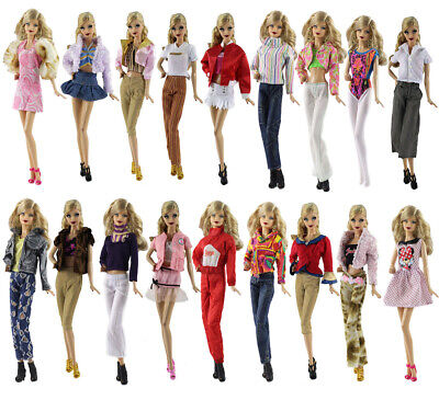 Lot 15 items=5 Fashion Lovely Clothes/outfit+10 shoes For Barbie Doll t44