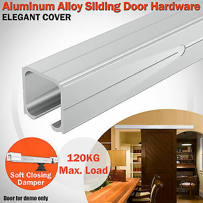 2M Aluminum Alloy Sliding Barn Door Hardware Closet Track Roller Kit