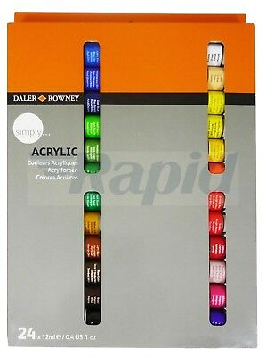 Daler Rowney Simply Acrylic Colours Set 24 x 12ml Tubes