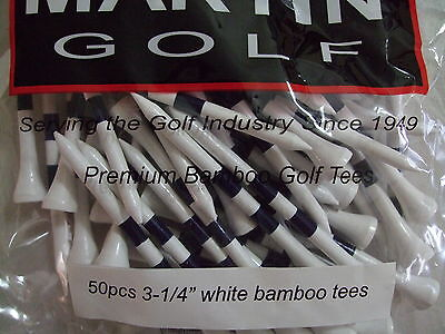 "NEW 50 Pcs 3-1/4"" White/Navy Striped Premium Bamboo Golf Driver Tees"