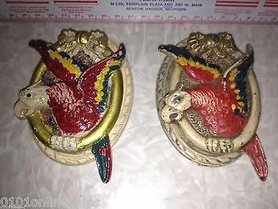 2 Scarce Hubley Flying Parrot Doorknockers with Likely Original Paint!