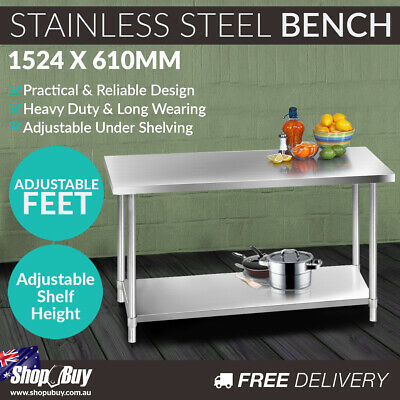 Stainless Steel Kitchen Work Bench Food 304 Preparation Table Top 1524mm