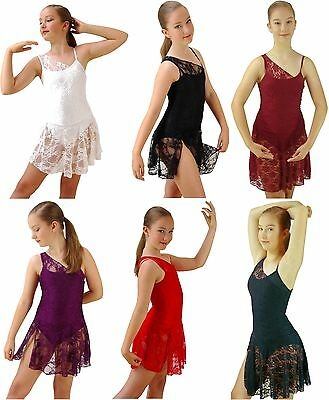 White Black Red Purple Lace Lyrical Ballet Modern Dance Costume - 6 8 10 12 14