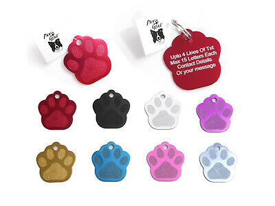 Pet ID Tags Personalised Engraved Anodized Aluminium Dog Cat PawShape by PawGear
