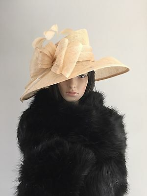 Suzanne Bettley CHAMPAGNE WEDDING Hat Occasion Mother Of The Bride SINAMAY