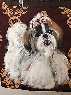 Shih Tzu Hand Painted Tote Handbag Pocketbook - New - BEAUTIFUL!