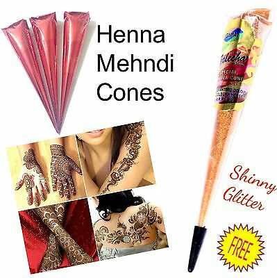 Handmade Fresh Indian Henna Mehndi Cones Tattoo Kit Cones + 1 Free Shiny Glitter