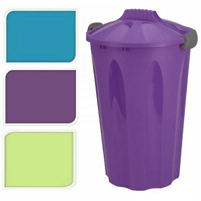 40L Large Plastic Bin Round Rubbish Waste Garden Kitchen Storage Container & Lid