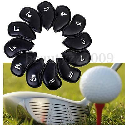 12 Golf Club Head Covers Black Thick PU Leather Iron Putter Headcover Waterproof