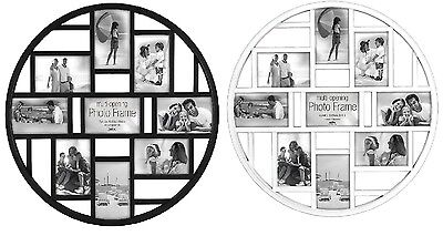 Circular Multi Aperture Photo Picture Frame Holds 9 X 6''X4'' Photos Black/White