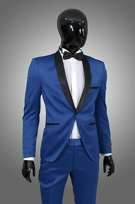 Smoking in Blau Satin +  - Slim Fit-  Sakko Herrenanzug Bräutigam Bühne Suit