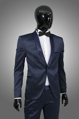 Smoking in Blau Satin  - Slim Fit-  Sakko Herrenanzug Bräutigam Bühne Suit Trend