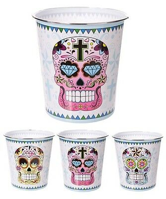 Mülleimer Skull Day of the Dead Kunststoff 24,5cm hoch Kinderzimmer Papierkorb